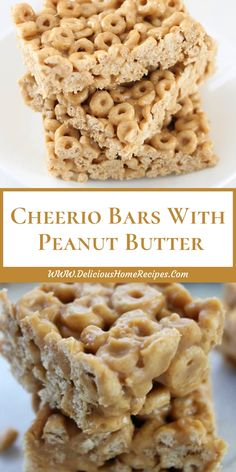 Cheerio Bars With Peanut Butter Breakfast Recipes, Snack Recipes, Dessert Recipes, Free Breakfast, Party Recipes, Desserts Fourth Of July, Peanut Butter Cheerio Bars, Tasty, Yummy Food