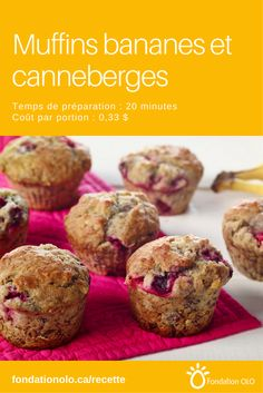 Cranberry Muffins, Cordon Bleu, Muffin Recipes, Cooking Time, Biscuits, Brunch, 20 Minutes, Banana, Tasty
