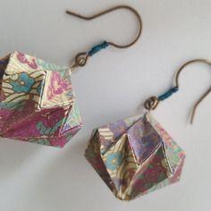 Boucles d'oreilles origami lanterne en papier