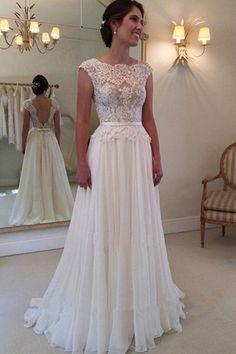 A-line Lace Top Backless Long Beach Wedding Dress Ball Gowns