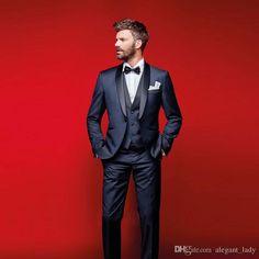 Classy Navy Blue Wedding Tuxedos Slim Fit Suits For Men Groomsmen Suit Three Pieces Cheap Prom Formal Suits Jacket +Pants+Vest+Bow Tie Men Vest Groom Vest Wedding Waistcoat Online with $99.43/Piece on Alegant_lady's Store | DHgate.com