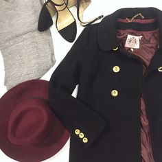 """Juicy Couture Double Breasted Pea Coat Black/Gold In amazing pre-owned condition! Women's size small, but room for layering.                                         •Approx. 16"""" across shoulders, 26"""" from shoulder to hem.                                                            no trades nor lowball offers                             Thanks for shopping in my closet!! Juicy Couture Jackets & Coats Pea Coats"""