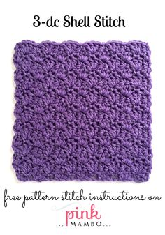 3-Double Crochet Shell Stitch Pattern. //  ♡ I AM SO IN LOVE WITH PATTERNS LIKE…