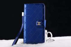Chanel Galaxy S7 Edge Designer Leather Wallet Case Blue