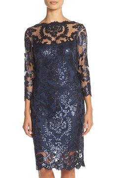 Tadashi Shoji Sequin Embellished Mesh Sheath Dress available at #Nordstrom