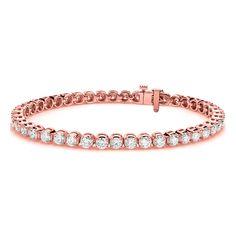 TENNIS BRACELET ROUND 6.90 CT DIAMONDS 14K ROSE GOLD FINISH 7 INCH #Omegajewellery #Tennis