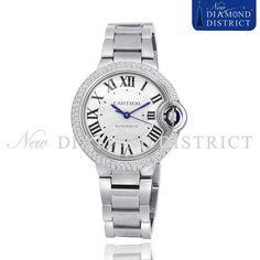 1.50ct Diamond Cartier Ballon Bleu 33mm Stainless Steel Automatic W6920071 Watch #Cartier