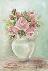 Shabby Chic Roses Paintings - Shabby Chic Pink Roses Painting on Aqua Background by Chris Hobel
