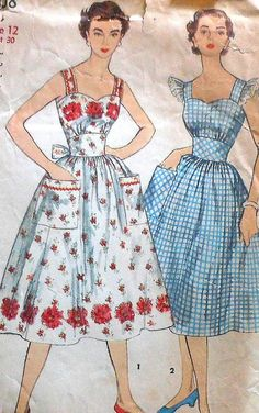 Vintage 50s Sundress / Pinafore Dress Sewing by latenightcoffee, $18.00