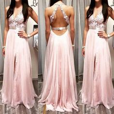 Applique Halter Prom Dress, Pink Chiffon Evening Dress,