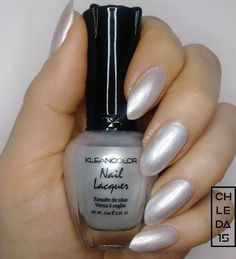 "For a color called ""Silver"" it doesn't really look silver, it's more of a pearl white but still lovely. 2 coats + base & topcoat of this pretty pearl by Kleancolor 8 ""Silver"" - April 2018"