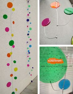 Girlande / Raumdekoration, auch für den Aussenbereich da uv-beständig. Verzinkter Draht und Polystyrol-Scheiben in brillanten, transparenten Farben, handgefertigt, individualisierbar Home Interior Accessories, Garlands, Dekoration, Wire, Handmade, Colors