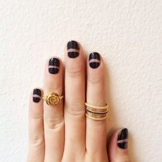 fun dark polish mani and rings