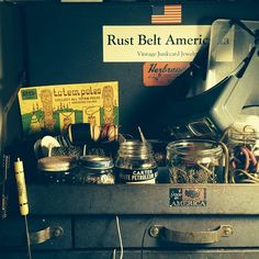 A piece of my workshop and future Rust Belt Americana vintage junkyard jewelry