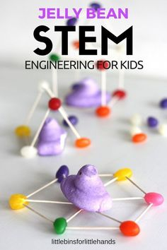 Easter STEM building with Jelly Beans. Fun and simple engineering for kids. Peep STEM challenge for a Spring activity. Build simple structures with kids.