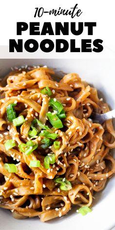 Peanut Butter Noodles Recipe, Spicy Peanut Noodles, Spicy Peanut Sauce, Peanut Sauce Recipes, Recipes With Rice Noodles, Peanut Rice Recipe, Vegetarian Recipes Easy, Asian Recipes, Healthy Recipes