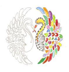 De ingekleurde kraanvogels uit Kleurboek No. 1.