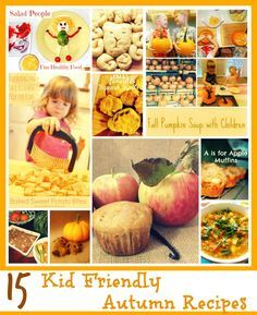 15 Kid Friendly Autumn Recipes! Get kids in the kitchen with these fun fall recipes. Pumpkins, apples, and plenty of kitchen fun!