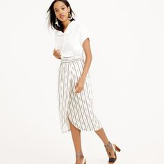 Tulip faux-wrap skirt in ivory ikat : skirts | J.Crew
