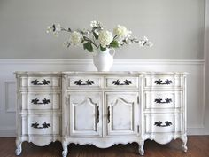 EIA MAGAZINE Exclusive - Hand Painted Antique White French Provincial Romantic Vintage Sideboard Cabinet Buffet