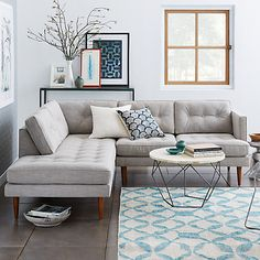 Buy west elm Peggy Sectional Set 2 Right Arm Terminal Left Arm Sofa Online at johnlewis.com