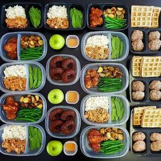 If waffles and donuts are involved we are down!  _  Short week big prep!  Mealprep for two with all meals  snacks covered  Made too much to fit in the pic so prepped the rest buffet style! Included some of my fav recipes this week Breakfast - Whole wheat waffles with turkey sage sausage pattiesLunch - Thai peanut chicken from @bodybuildingcom with jasmine rice & snow peasDinner - Spiced honey boneless chicken thighs from @cookinglight with roasted rosemary potatoes & green beansSnacks…