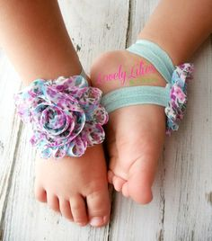 Baby Barefoot Sandals .. Lavender and Aqua Floral.. Toddler Sandals .. Newborn Sandals .. Baby Flower Sandals