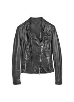Forzieri | Diagonal Zip Black Leather Motorcycle Jacket
