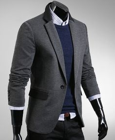 Men 's Blazer with Contrasting Collar and Pocket