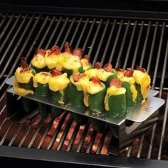 Shop Jalapeno Pepper Grill Rack Set at CHEFS. I make these a lot too, a must have. Grilled Jalapeno Poppers, Stuffed Jalapeno Peppers, Great Recipes, Favorite Recipes, Yummy Recipes, Yummy Food, Tasty, Yummy Yummy, Food For Thought
