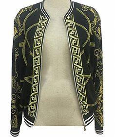 a9ca55e80d83 xtsrkbg Women's Long Sleeve Zip Up Floral Print Casual Bomber Jacket  Baseball Coat Black XXS