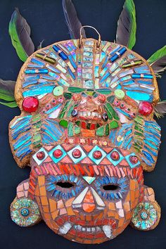 I like this mask because of the different materials used to create the texture of the mask. You can clearly identify different materials used! The colours are also very eye catching. Mayan Mask, Aztec Mask, Hispanic Art, Aztec Culture, Mesoamerican, Mexican Art, Mexican Crafts, Inca, Thinking Day
