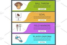 American football banner templates set. Infographic Elements