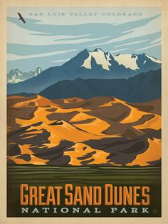Great Sand Dunes National Park - Anderson Design Group has created an award-winning series of classic travel posters that celebrates the history and charm of America's greatest cities and national parks. Founder Joel Anderson directs a team of talented Nashville-based artists to keep the collection growing. This print celebrates the contrasting glory of the Great Sand Dunes National Park.<br />