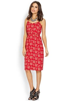 Love 21 - A woven dress featuring a floral print. Adjustable spaghetti straps. Shallow neckline. ...