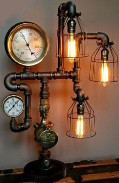 Steampunk Style Floor Lamps For Sale Lamp Industrial Art Machine Age Salvage Steam Gauge Light Pressure Punk Table Lighting Task Office Bare Edison Uk Mosaic All Casa Steampunk, Lampe Steampunk, Steampunk Design, Steampunk Bedroom, Steampunk Table, Steampunk Interior, Steampunk Home Decor, Steampunk Furniture, Steampunk Pirate