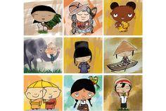 Personnages du monde  Personnages du monde illustrés - réalisation personnelle.