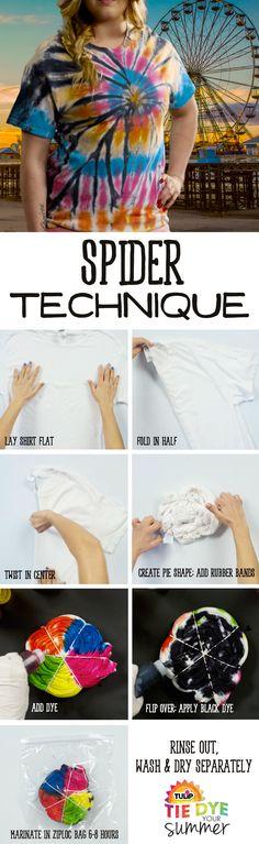 Spider Technique Tie-Dye T-Shirt - how to tie dye a unique tee shirt - DIY summer shirts - tie die tutorial