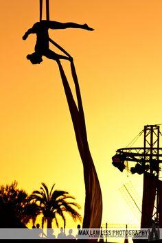 Acrobats at Sunset.  Deepflight @ Ocean Beach, San Antonio, Ibiza.  August 28, 2012.
