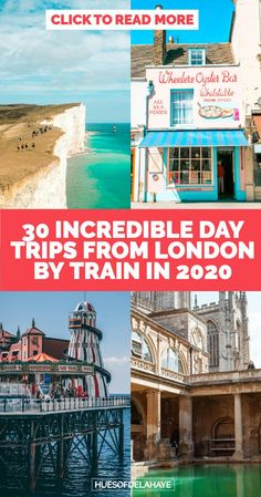 Best day trips from London by train - A guide to 30 of the best places to visit from London. Take a London day trip to Oxford, Bath, Seven Sisters Cliffs, explore castles near London. These easy day trips from London, you can even hop on the Eurostar and do a Lille, Antwerp, Brussels, Amsterdam, or to Paris day trip from London. Day trips by train from London are great. London day trips by train, explore more of England and plan a UK staycation. Enjoy this UK travel guide #Londondaytrips