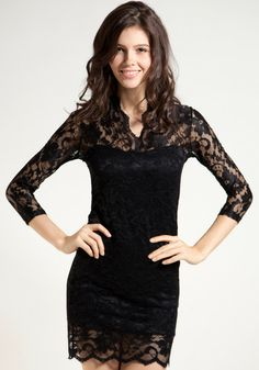 Neck Scalloped Lace Dress - Black