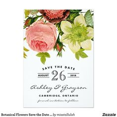 Botanical Flowers Save the Date Announcement. Artwork designed by Miss Tallulah Paperie. Price $2.01 per card
