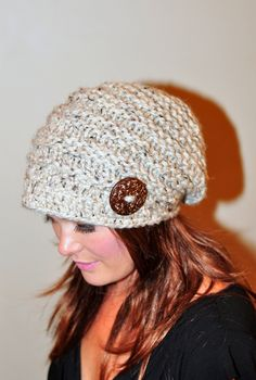 Slouchy Beanie Hat Brim Hat Brimmed Beanie Button Knit by lucymir Winter Knit Hats, Crochet Winter, Knit Crochet, Crochet Hats, Slouchy Beanie Hats, Beanies, Hats For Short Hair, Girly Gifts, Cool Hats