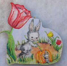 Bunny And Tulips Vtg Easter Greeting Card Glittered Wood Ornament