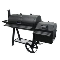 This Farmer's Charcoal Grill and Off-Set Smoker has an oversized side box for loading up with wood chips to provide that great smoke taste flavor, or you can just use it for extra cooking space.