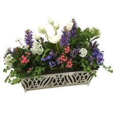 Add a touch of floral elegance to your credenza or side table with this lovely faux floral arrangement, showcasing multicolored blooms in a chic openwork vas...