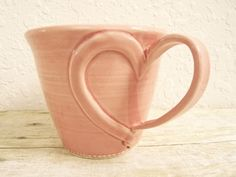 Heart Coffee Mug Valentine Sweetheart Love Ceramic Mug Pink Rose Wheel Thrown Pottery. $24.00, via Etsy.