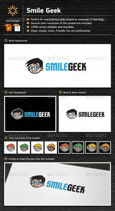 Smile Geek Logo Template Vector EPS, AI Illustrator. Download here: https://graphicriver.net/item/smile-geek/7112098?ref=ksioks