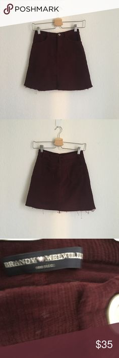 Brandy Melville Burgundy Corduroy Skirt Burgundy corduroy skirt with frayed edges. Would fit xs-s the best. In a great condition, no flaws. Brandy Melville Skirts Mini