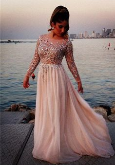 Long Prom Dress With Sleeves Prom Dresses Party Gown pst0573 – BBDressing